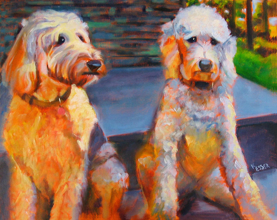 Labradoodles Painting - The Doodle Sisters by Kaytee Esser