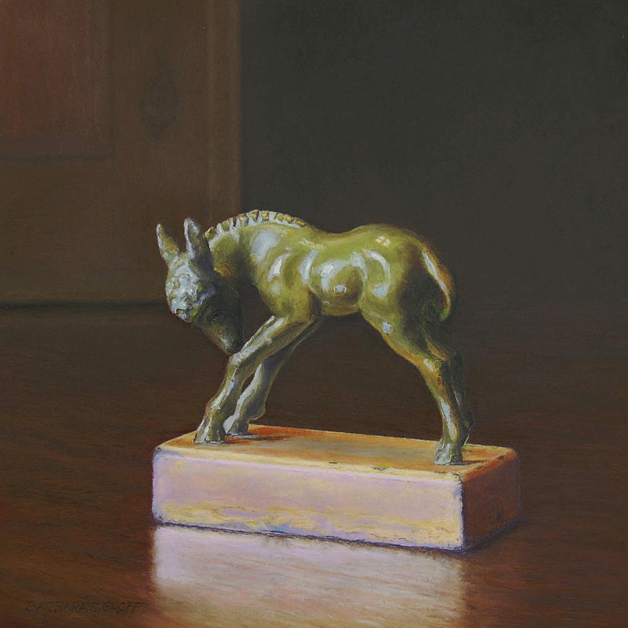 Burro Painting - The Door Stops Here by Barbara Groff