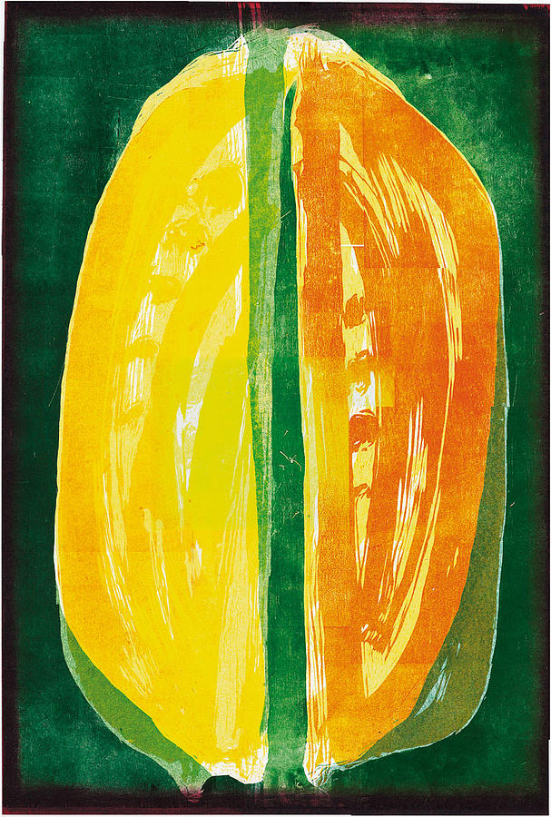 Woodblock Print - The Double Lemon by Josef Hlavacek