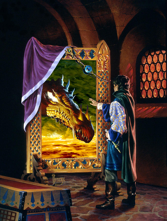 Fantasy Painting - The Dragon Mirror by Richard Hescox