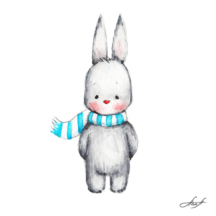 the drawing of cute bunny in scarf painting by anna abramska