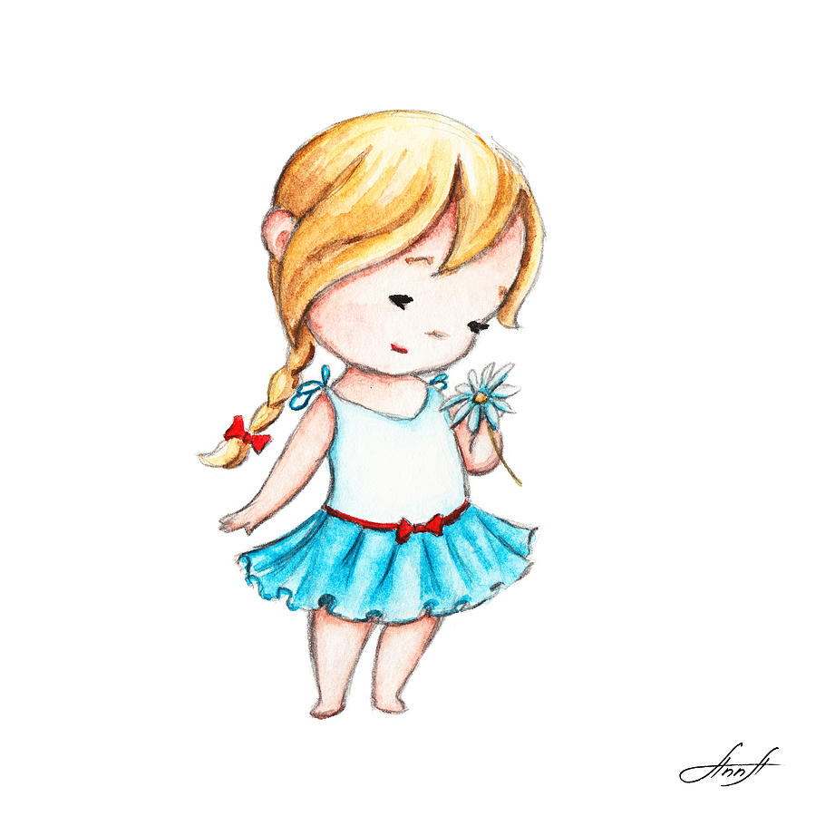 The Drawing Of Little Girl With A Daisy Painting By Anna Abramska