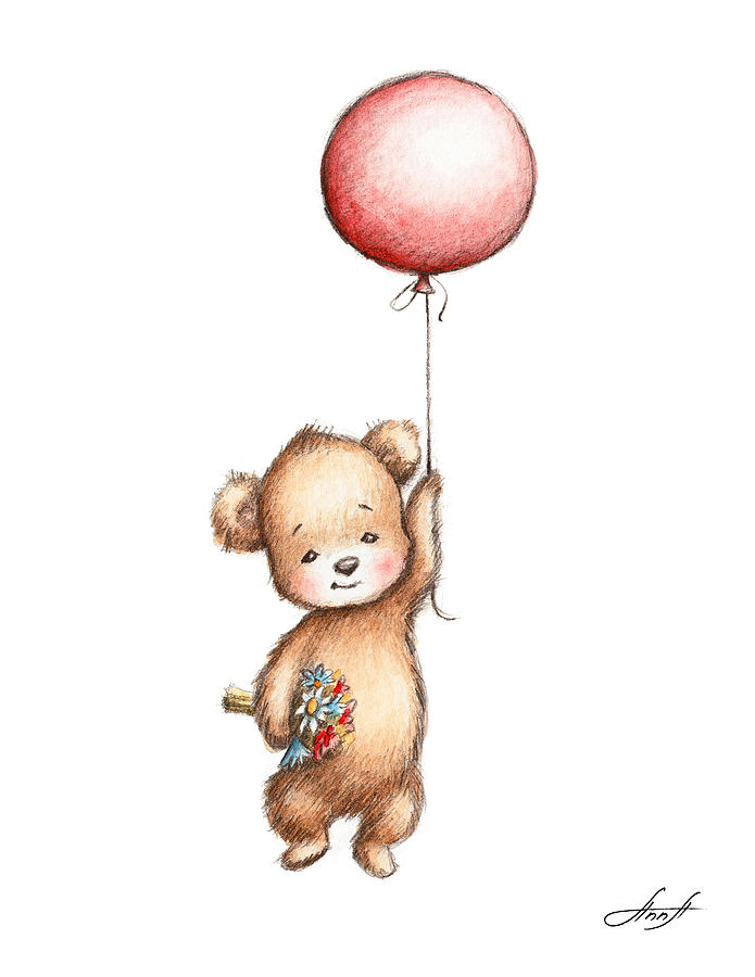 Teddy Painting - The Drawing of Teddy Bear with Red Balloon and Flowers by Anna Abramskaya
