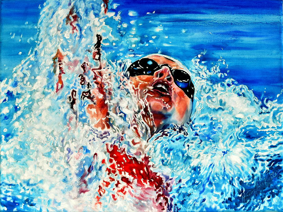 Swimmer Painting - The Dream Becomes Reality by Hanne Lore Koehler