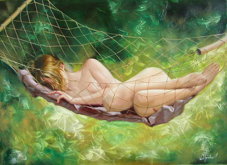 Oil Painting - The Dream In Summer Garden by Sergey Ignatenko