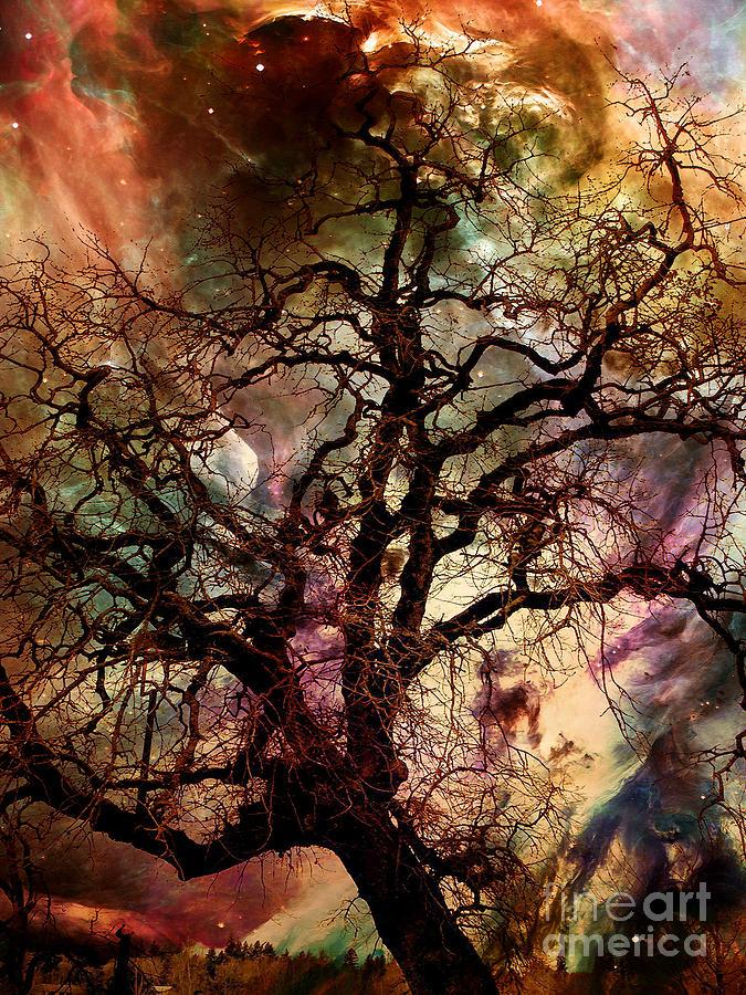 Triptych Digital Art - The Dream Oak triptych center panel by Kenneth Rougeau