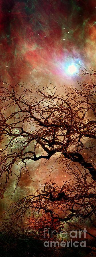 Triptych Digital Art - The Dream Oak triptych left panel by Kenneth Rougeau
