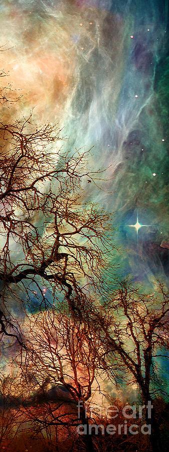 Triptych Digital Art - The Dream Oak triptych right panel by Kenneth Rougeau