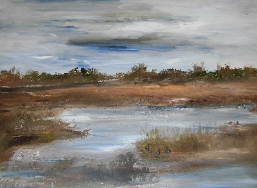 Landscape Painting - The Duck Pond by Edward Wolverton