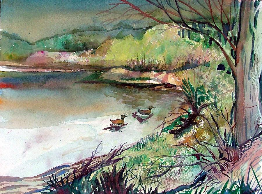 Ducks Painting - The Duck Pond by Mindy Newman
