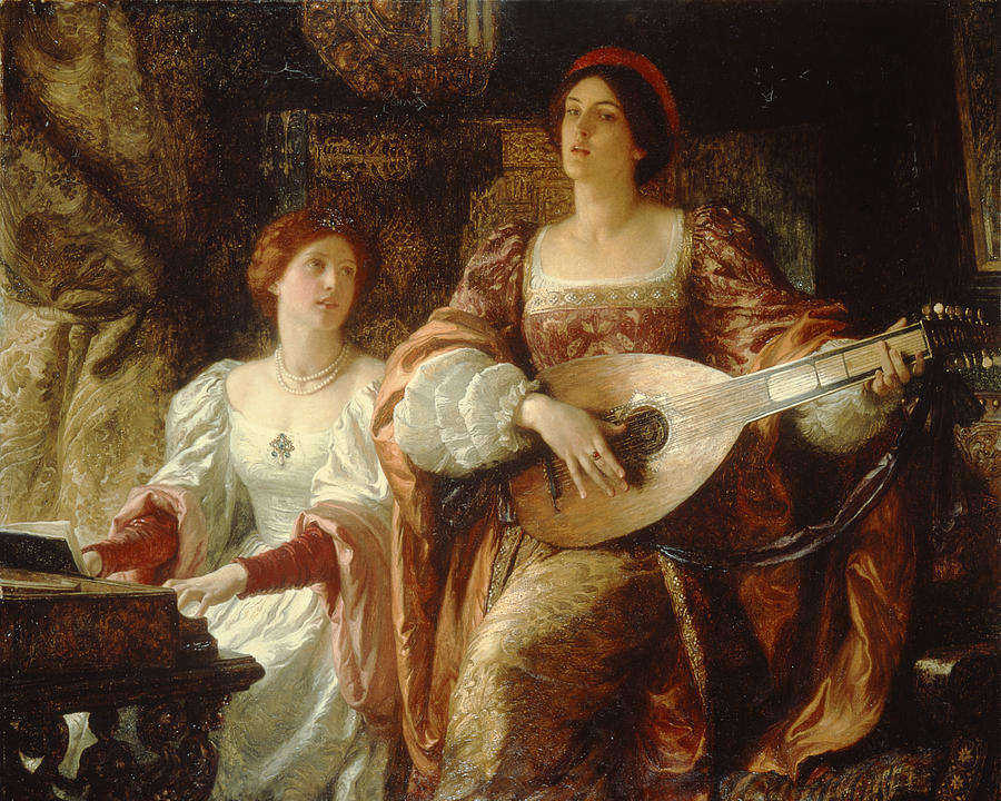 Lute Painting - The Duet by Sir Frank Dicksee