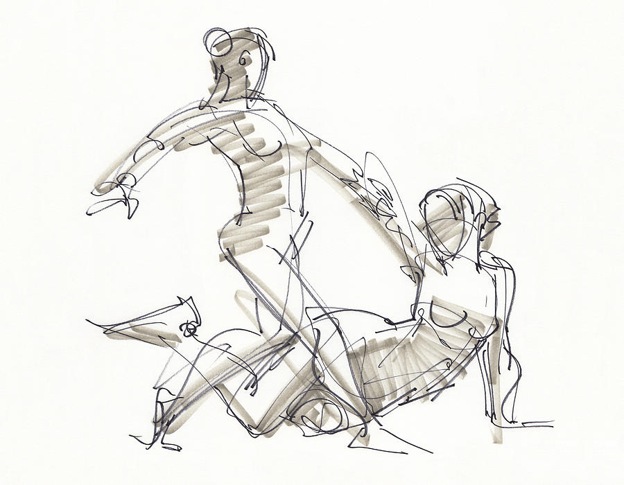 The Duo Drawing by Judith Kunzle