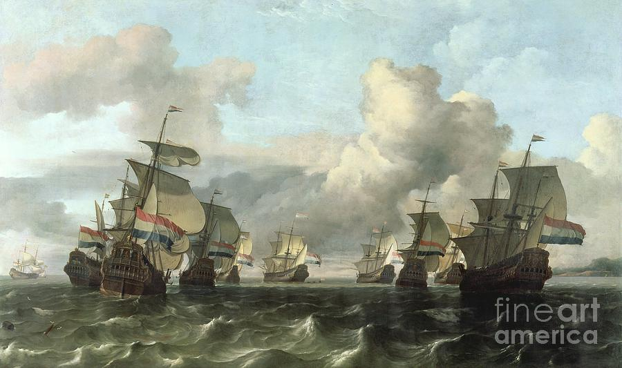 The Painting - The Dutch Fleet Of The India Company by Ludolf Backhuysen