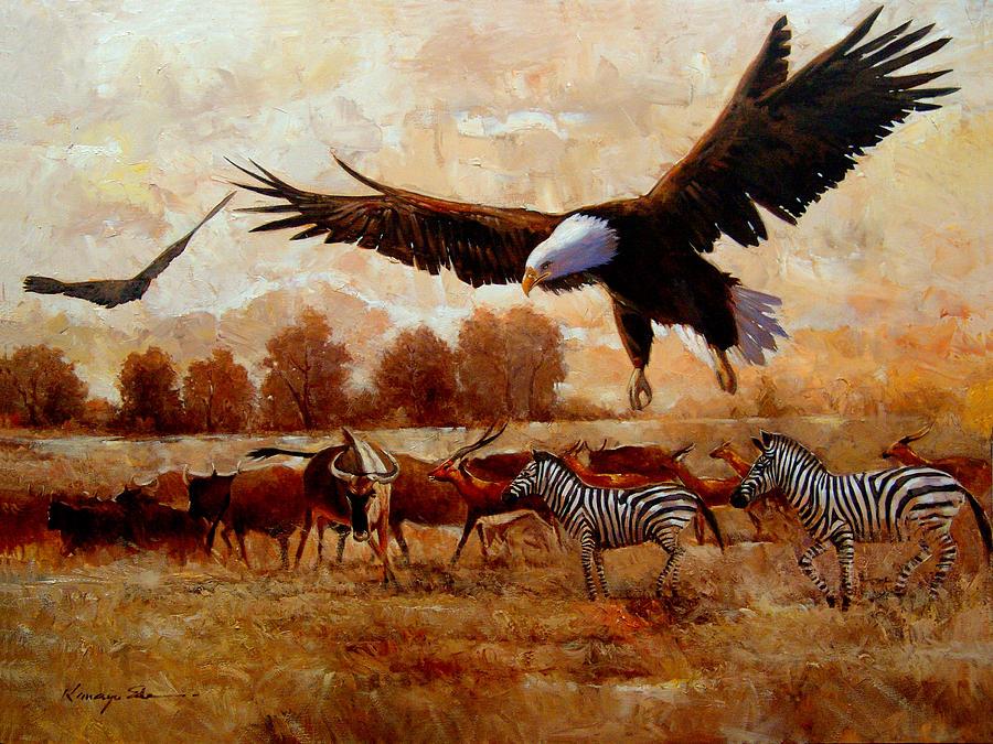 The Eagle African Safari With Eagles And Zebra Art Print