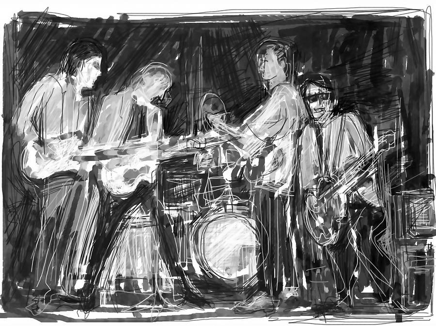 John Lennon Digital Art - The Early Beatles by Russell Pierce