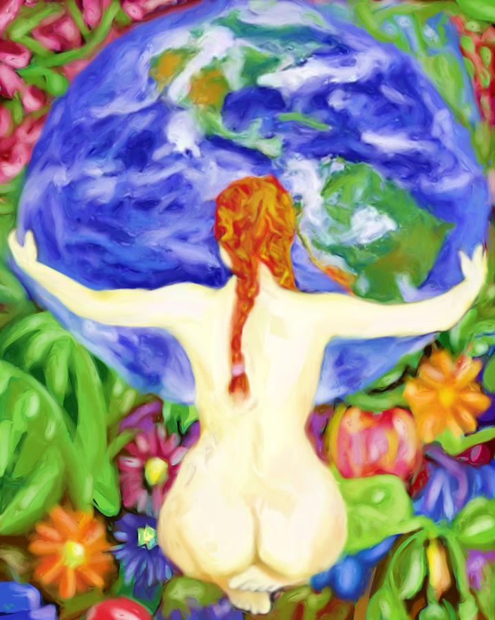 Mother Earth Painting - The Earth Is My Mother by Shelley Bain