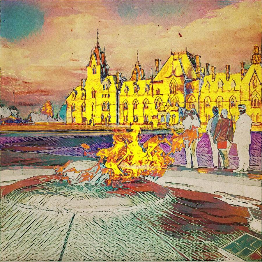 The East Block and the Centennial Flame by Julius Reque