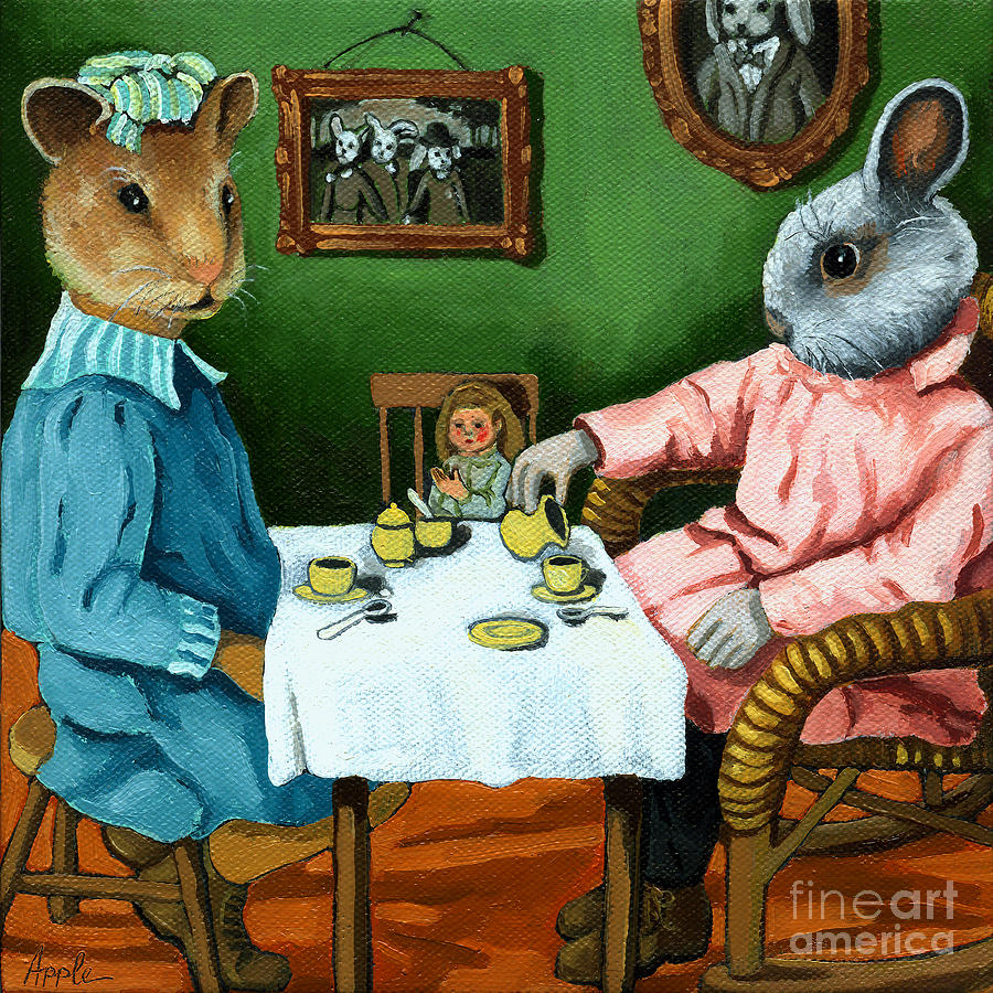 Rabbit Painting - The Easter Tea Party by Linda Apple