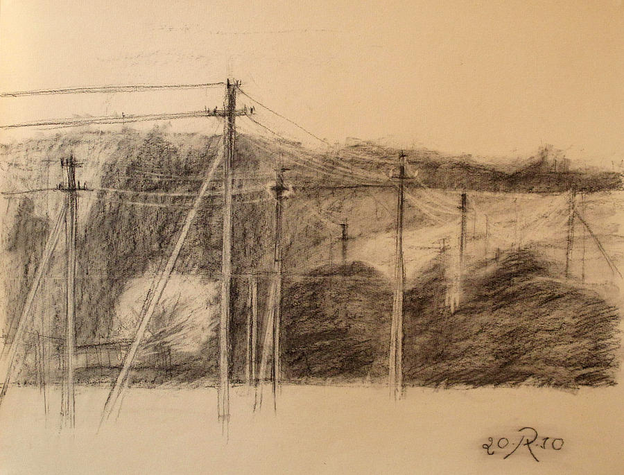 Drawing Drawing - The Edge Of The Village by Raimonda Jatkeviciute-Kasparaviciene