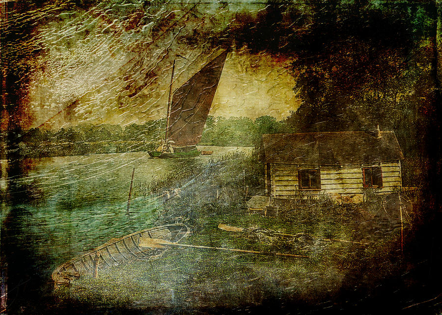 Hut Digital Art - The Eel Fishers Hut by Sarah Vernon