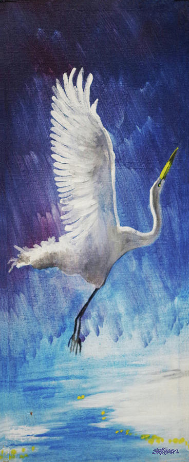 Egret Painting - The Egret by Seth Weaver
