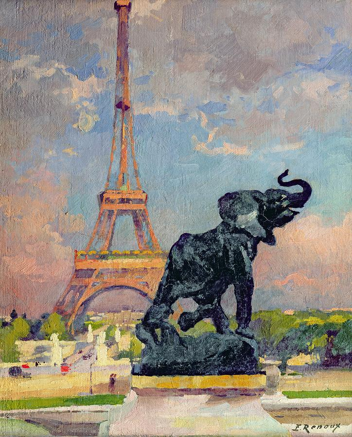 The Painting - The Eiffel Tower And The Elephant By Fremiet by Jules Ernest Renoux