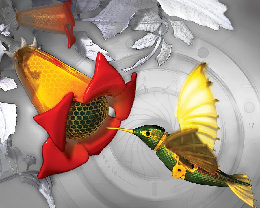 Hummingbird Digital Art - The Electric Hummingbird by Vanessa Bates