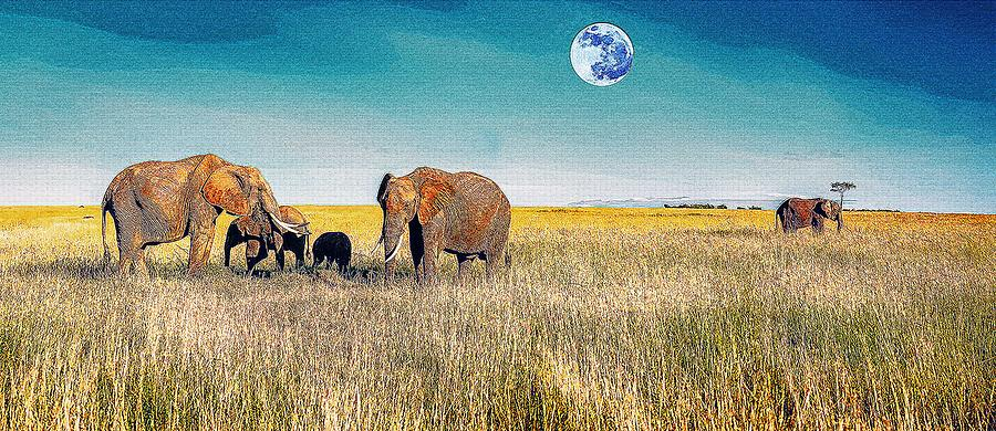 Nature Painting - The Elephant Herd by Celestial Images