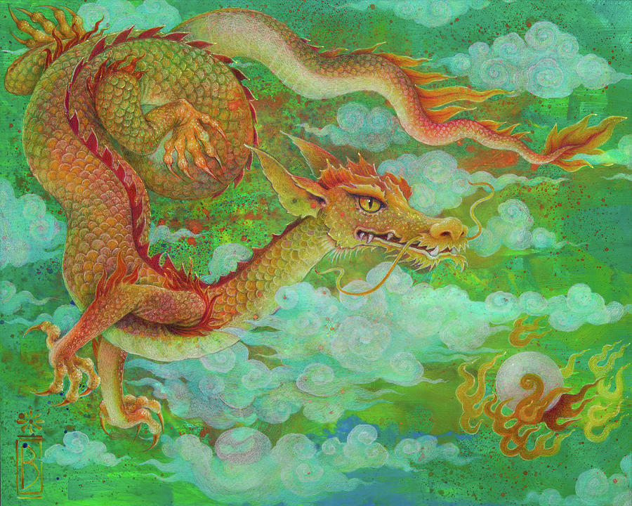 Dragon Painting - The Elusive Pearl by Lynn Bywaters