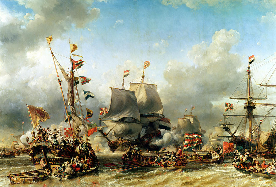 The Painting - The Embarkation Of Ruyter And William De Witt In 1667 by Louis Eugene Gabriel Isabey