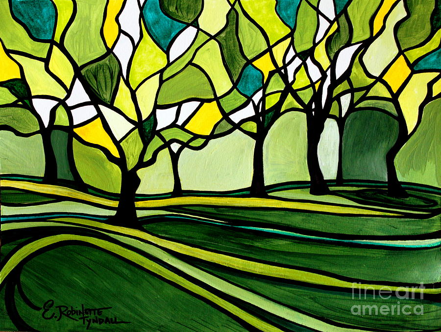 Emerald Painting - The Emerald Glass Forest by Elizabeth Robinette Tyndall