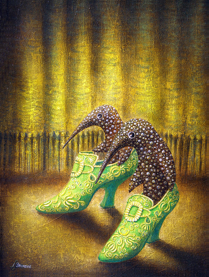 Shoes Painting - The Emerald Ships by Lolita Bronzini