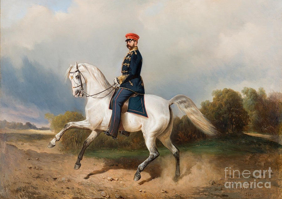 White Horse Painting - The Emperor Alexander by MotionAge Designs