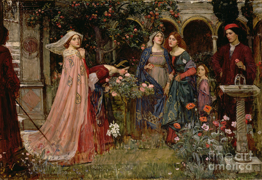 John William Waterhouse Painting - The Enchanted Garden by John William Waterhouse