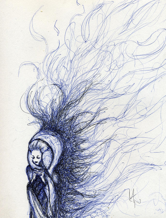 Woman Drawing - The End by Mark M  Mellon