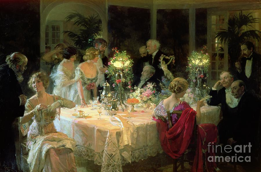 The End Of Dinner Painting By Jules Alexandre Grun