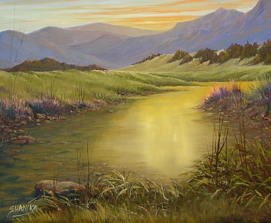 Landscape Painting - The End Of The Day 070714-79 by Kenneth Shanika