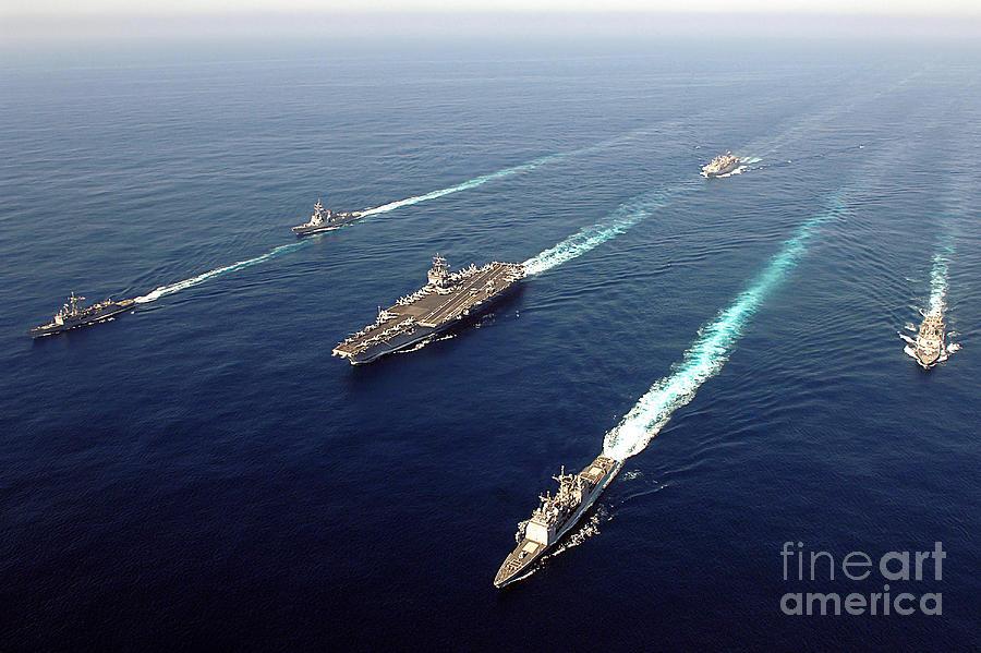 Uss Enterprise Photograph - The Enterprise Carrier Strike Group by Stocktrek Images
