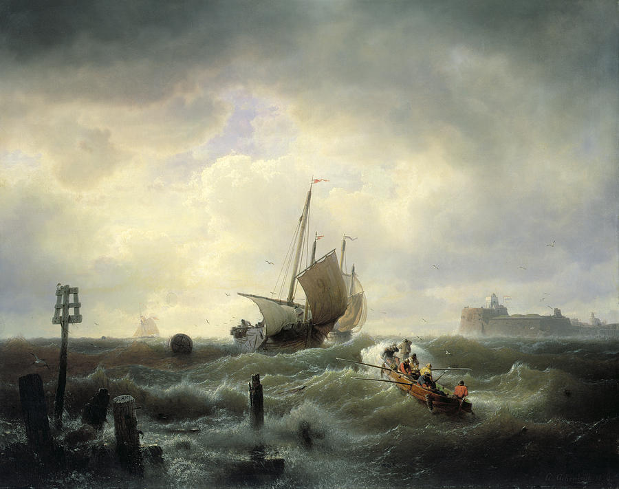 The Painting - The Entrance To The Harbour At Hellevoetsluys by Andreas Achenbach