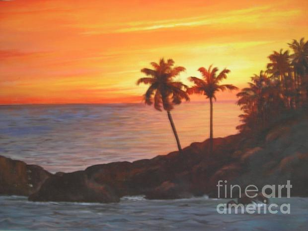 Landscape Painting - The Evening Sky And Coconut Tree by Marimuthu Chinnathambi