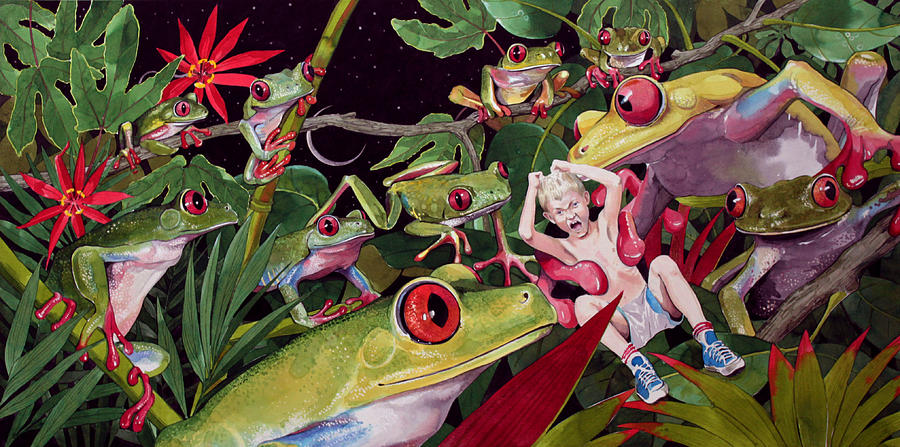 Frogs Painting - The Expedition by Denny Bond
