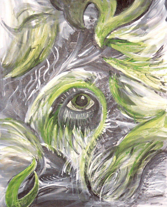 Green Painting - The Eye by Jessica Kauffman