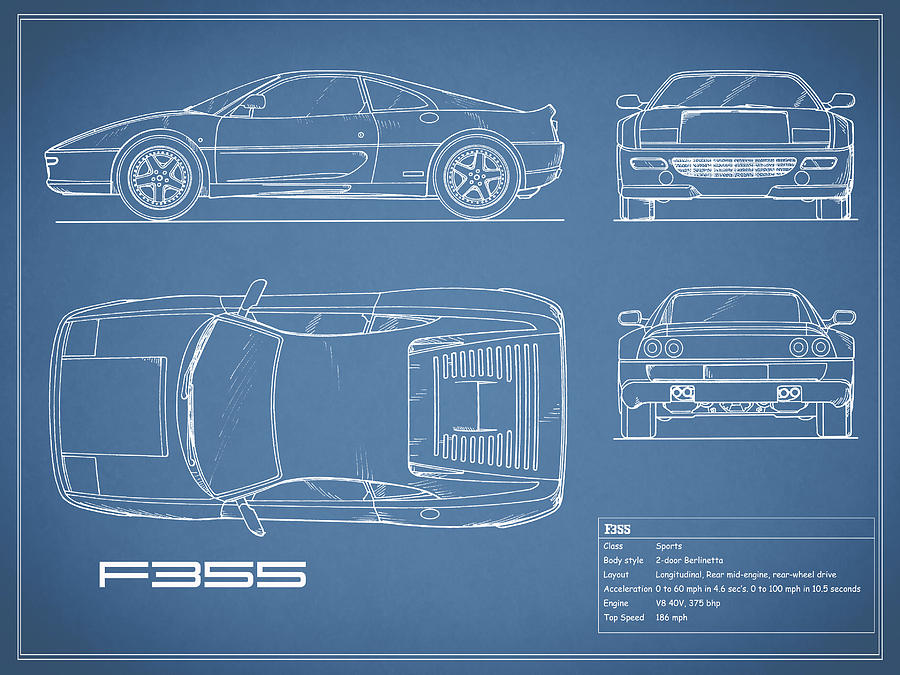 The f355 blueprint photograph by mark rogan ferrari f355 photograph the f355 blueprint by mark rogan malvernweather Images