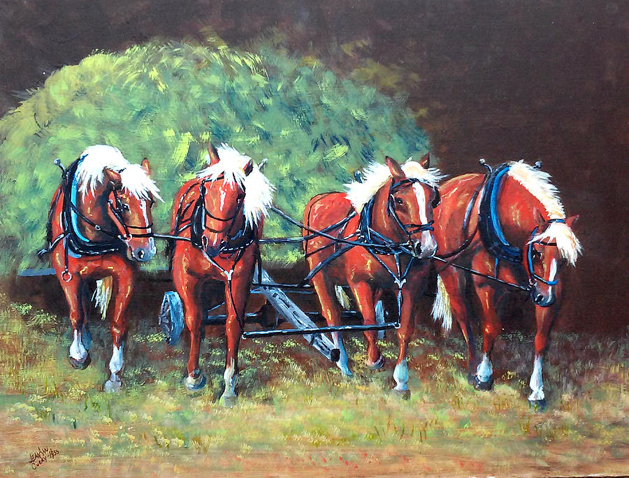 Horses Painting - The Fabulous Four by Jean Ann Curry Hess