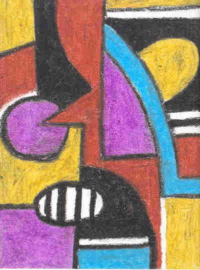 Cubism Pastel - The Face Of The Masquerade by Ellis Oyekola