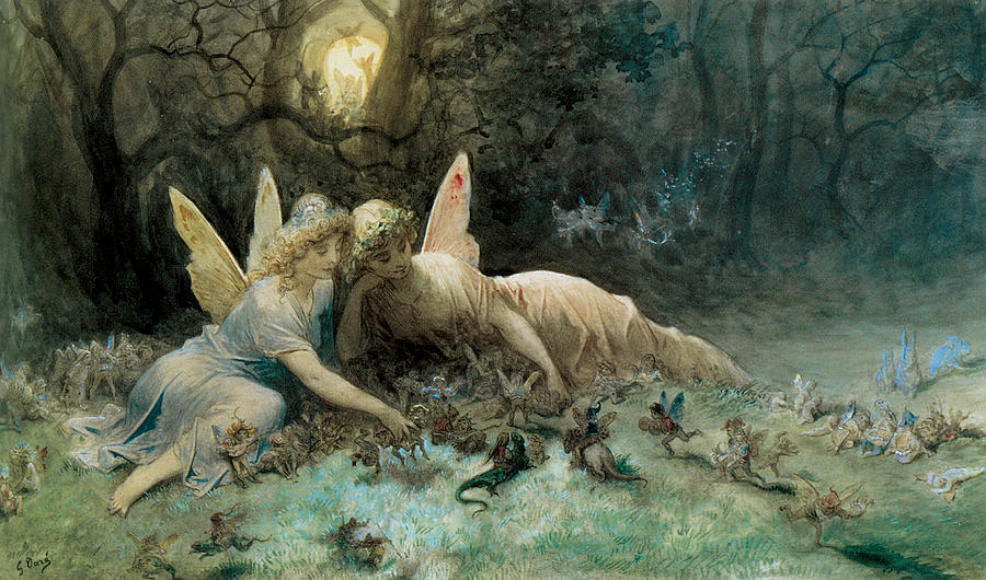 The Fairies Painting - The Fairies  by Gustave Dore
