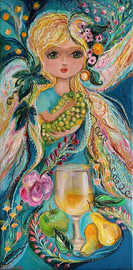 Wine Painting - The Fairies Of Wine Series - Chardonnay by Elena Kotliarker
