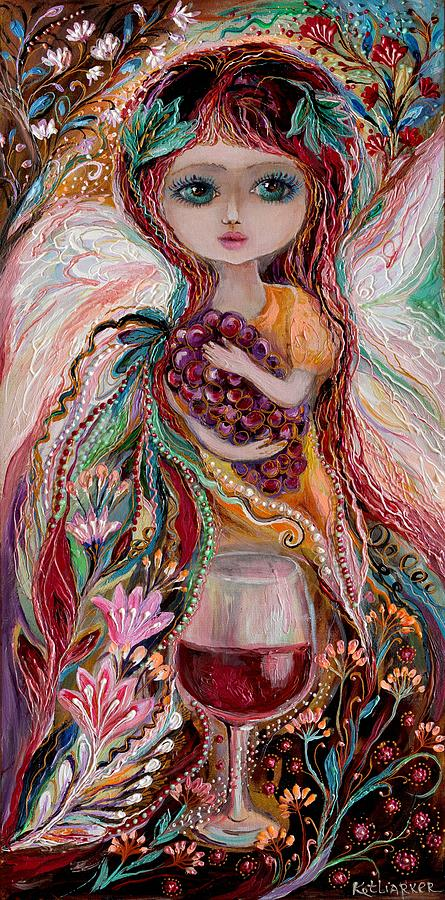 Portrait Painting - The Fairies Of Wine Series - Merlot by Elena Kotliarker
