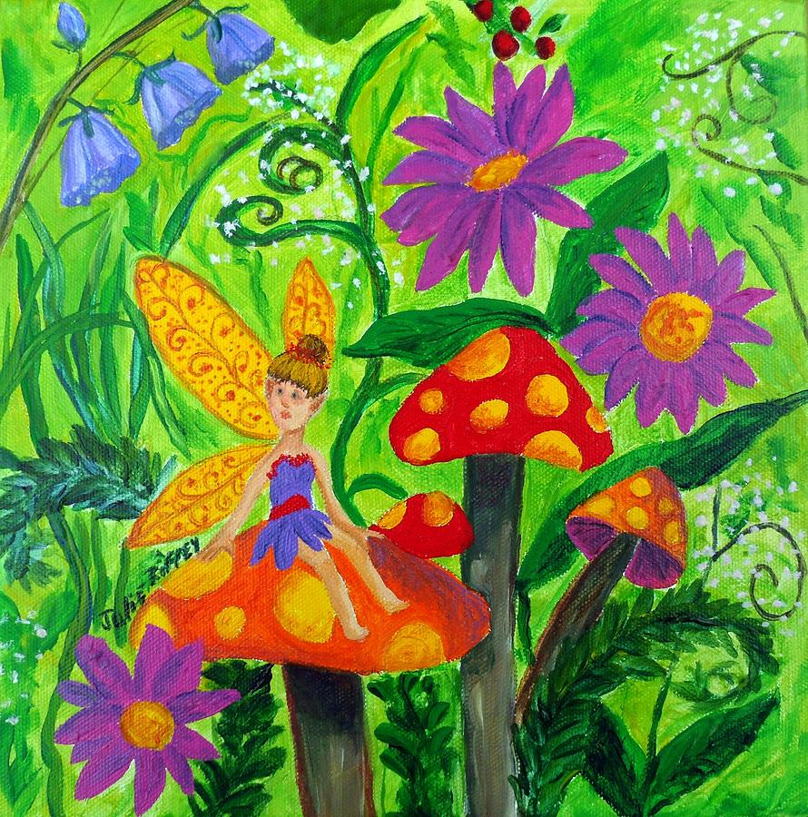 ACEO Original Acrylic Painting, Garden Fairy by
