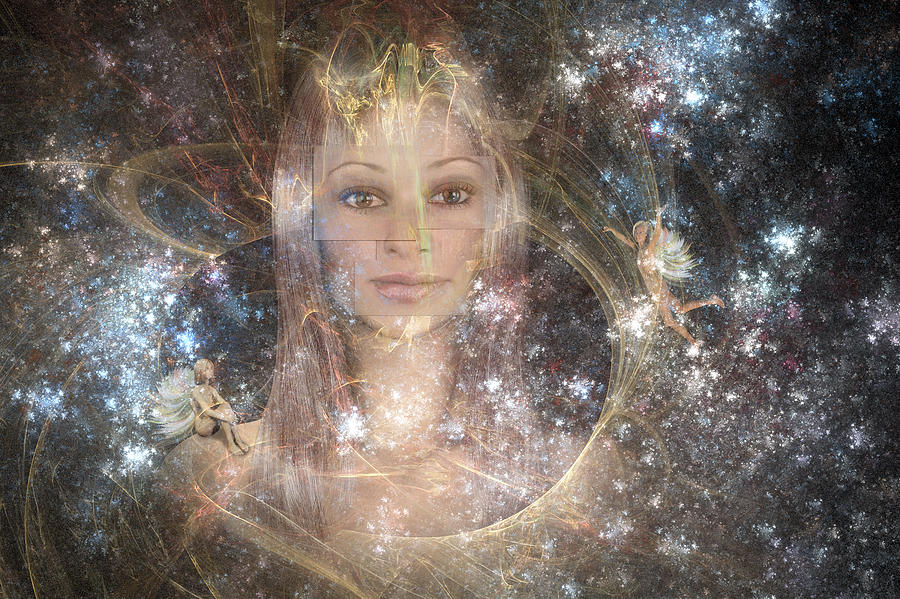 Fairies Digital Art - The Fairy Queen by Carol and Mike Werner